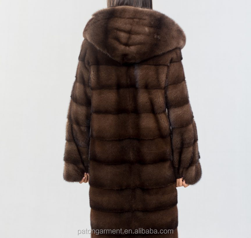 Superior quality real Mink male Sc. brown fur Length 98 cm hooded long mink coat