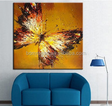 Household Adornment Picture Orange Hand-painted Oil Painting Butterfly High Quality Painting Living Room Decor Unique Gift