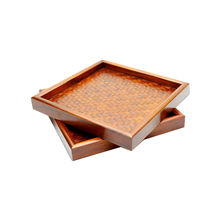 Good Price Engraved Custom Design Wooden Tray With Handle Serving