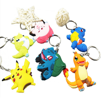 cheap promotion Cartoon PVC Ring Keychain oem Silicone Plastic Key Chain Pendant