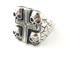 Cheap wholesale Cross Stamp Style Mens Skull Ring in Stainless Steel(HF-141)