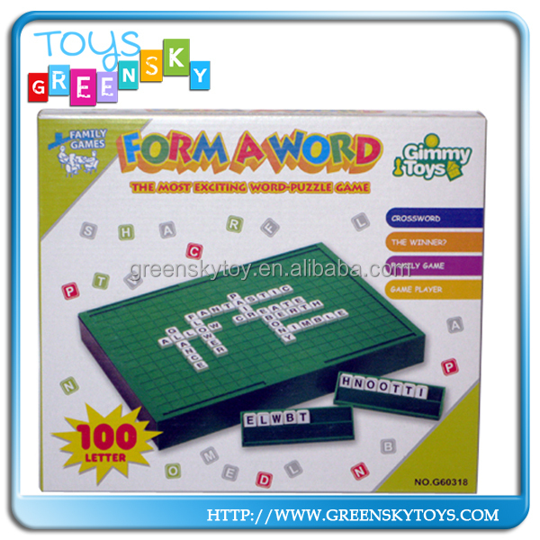 Plastic forma word puzzle game toy