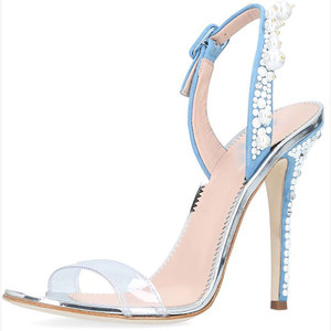 Luxury Beaded PVC Leather Ladies Evening Party Wear Shoes High Heel Sandals