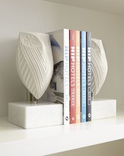 Top Selling Wholesale Art Decoration Modern White Owl marble Bookend For Study Room