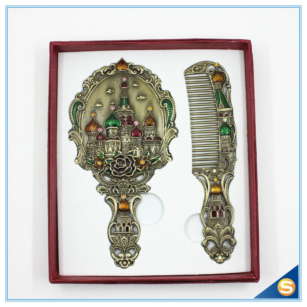 Russia Castle Design Single Side Handhold Mirror with Comb Wedding Gifts
