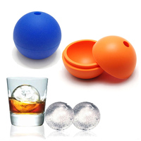 Round 2.5inch Ice Ball Mold Maker - Silicone Ice Cube Tray Whiskey Ice Ball Spheres (Black)