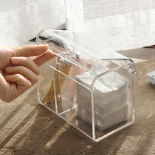 Clear Acrylic organizer 2 Grids Cosmetic organizer Swab Storage Case with Lid for Cotton Swabs Makeup Pads