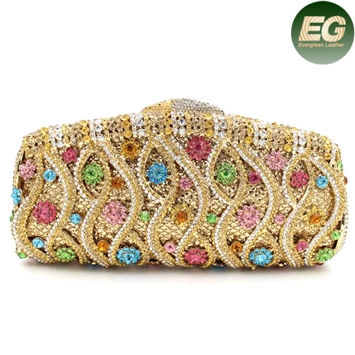 New fashion ladies colorful rhinestone evening bag metal chain clutch purses for party LEB749