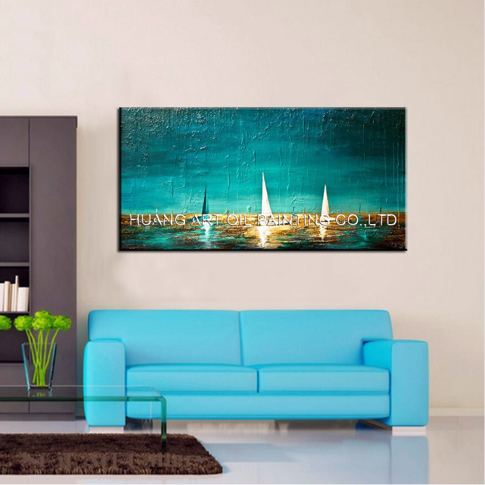 Skill Painter Pure Handmade Modern Landscape Knife Oil Painting on Canvas for Living Room Green Seascape Wall Painting