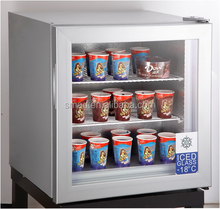 mini ice cream glass door display upright freezer with CE ROHS