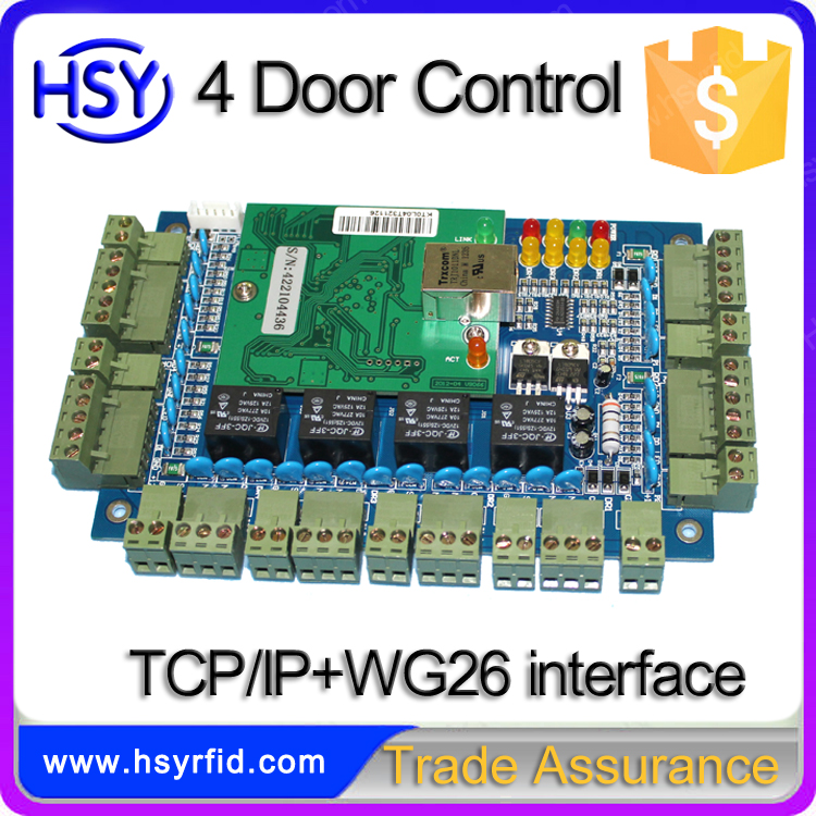 Security Office Building TCP/IP Network Handle 4 Doors Reades Buttons Door Access Control Panel with Friendly Software