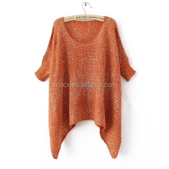 woman loose design long pullover sweater with sequins