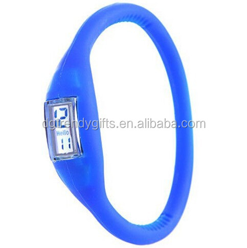 Blue Silicone Rubber Jelly Anion Ion Sports Casual Bracelet Wrist Watch Light Weight 10G