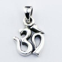 Sacred Syllable Aum Pendant High Polish Finish 925 Silver