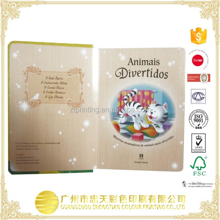 Popular design offset printing hardcover children board book with die cut shape