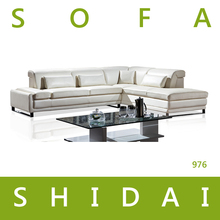 new model white leather corner sofa /modern genuine leather sofa set/ latest italy leather sofa 976