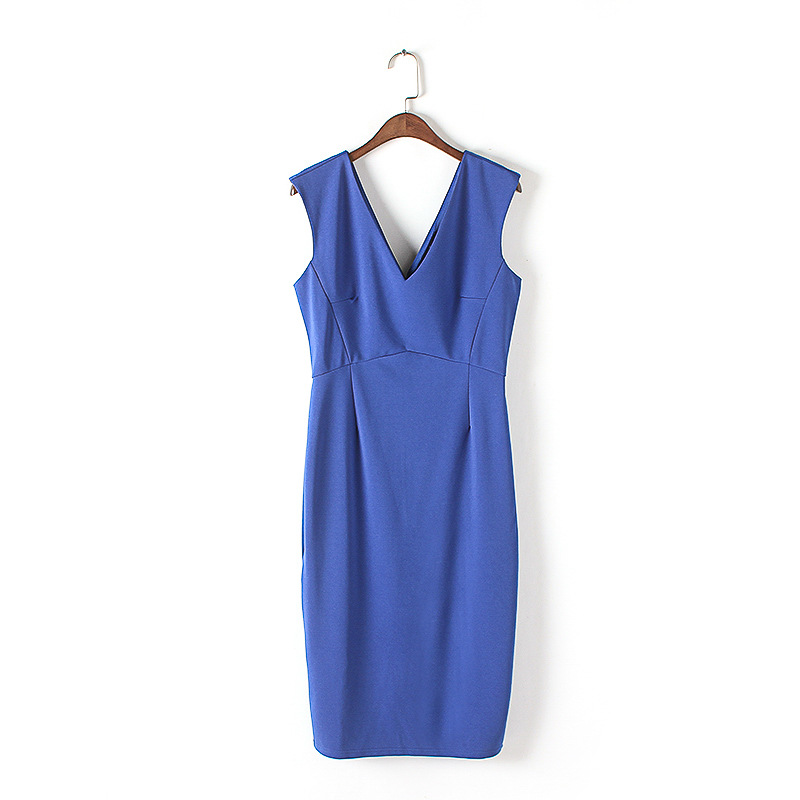 Guangzhou clothing factories ladies backless bodycon V-neck sleeveless blue pencil frock women dresses sexy