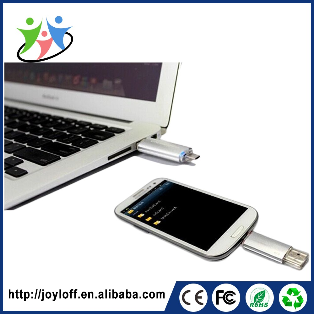 Latest New Model Dual Double Plug Interface Otg Mobile Phone Pc Usb 2.0 Oem Metal 128gb Usb Flash Drive