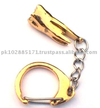 Molar Keychain , Large , Gold Plated