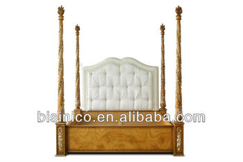 Luxury bedroom furniture antique bed, four poster solid wood king bed