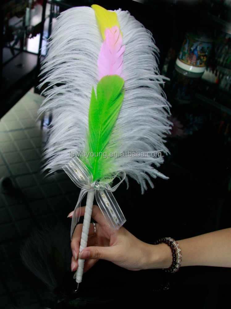 hot sale Advertising ostrich Feather ball Pens Christmas wedding gift sign pen