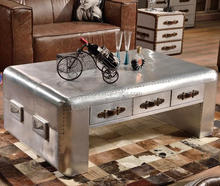 Industrial aviator aluminium square coffee table with drawer