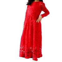 Red lace floral woevn maxi dress design for young girls wedding bridesmaid dress chiffon kids fancy dress