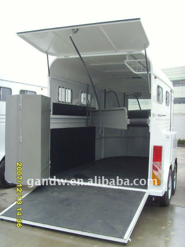 Hot sale Slant load 2horse float 2 horse box trailer