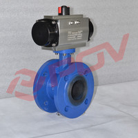 double flange connection ductile iron pneumatic butterfly valve