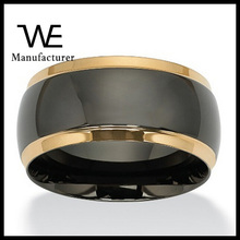 Fashion Female Wedding Band Ring In Black And Gold Plated Stainless Steel For Women