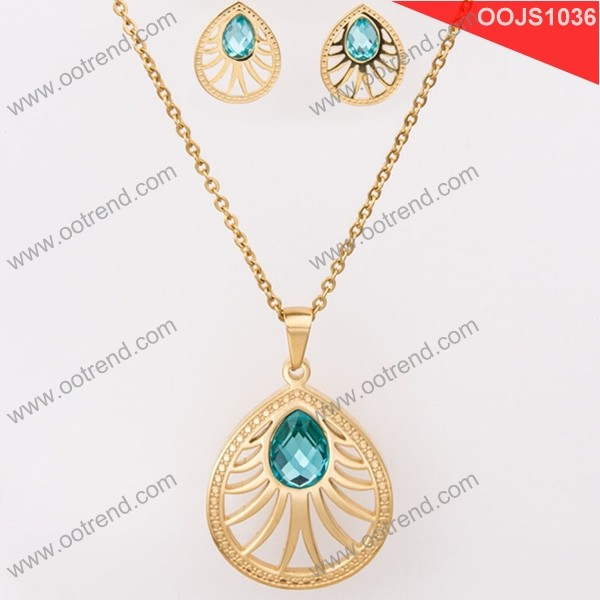 Indian stylish waterdrop bling crystal jewelry set