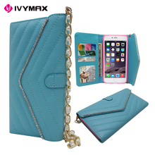 2016 new arrival Handbag Studded Rhinestone Design PU Leather Flip Wallet Case For apple iphone 6