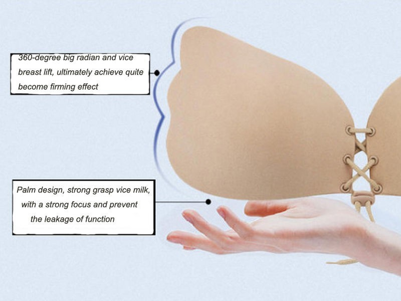 Sexy Women's Self Adhesive Wing Shape Silicone Extreme Push Up Invisible Strapless Bra with Drawstring