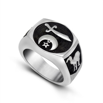 Fashion World of Warcraft Sword and Moon Titanium Stainless Steel Biker Ring