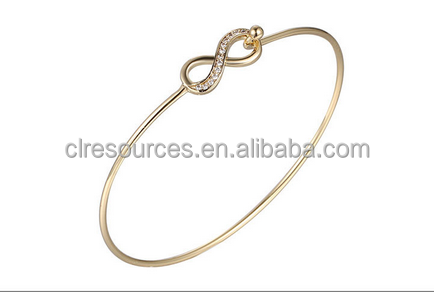 fashion hot sale eight shape alloy crystal gold bracelet, gold jewelry yiwu factory