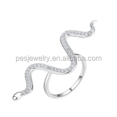 Special Design Pave Diamond Fancy Long Snake Open Ring (PES6-1941)