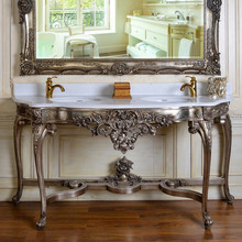 C118 Antique Silver Marble Top Console Table