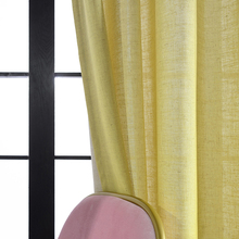 Factory Supply Many Colors Faux Line Yellow Soft Hotel Window Sheer Curtains Fabric