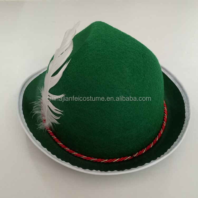 Irish Felt Hat With Green Rope And Feather