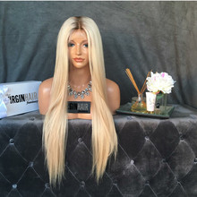 Best quality 26 inch 100% human hair glueless silk top full lace wig ombre two tone color