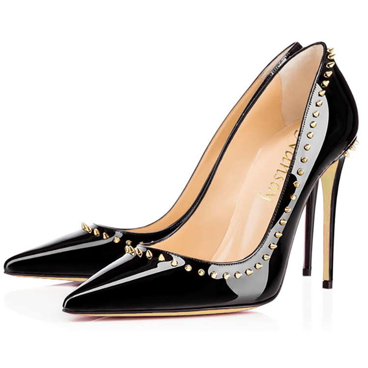 Ladies heel shoes luxury studded women dress shoes pumps high heels