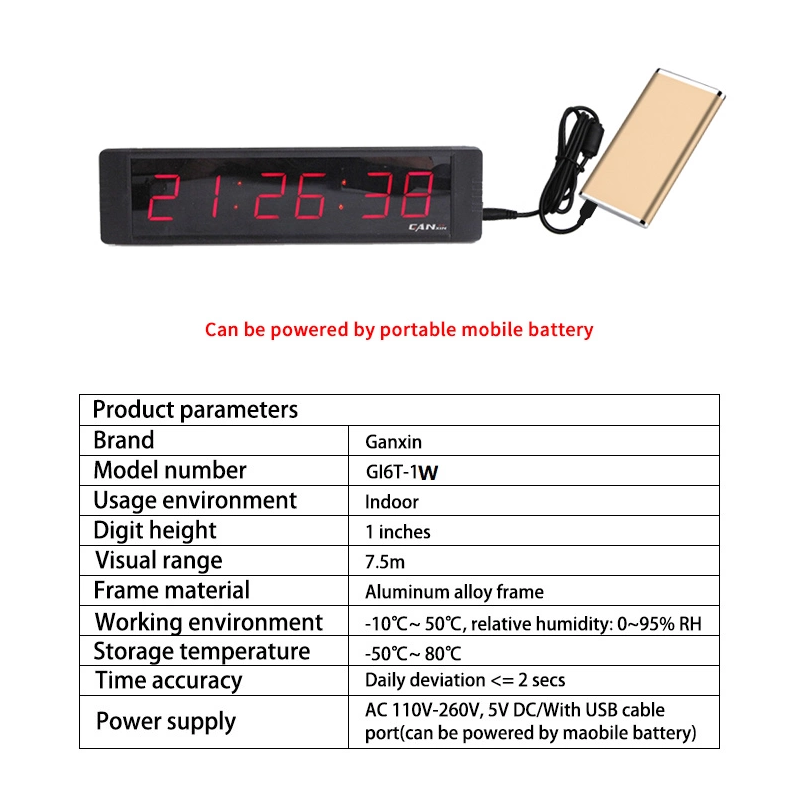 Ganxin GI6T-1B 6 digitals 1 inch minitype led clock