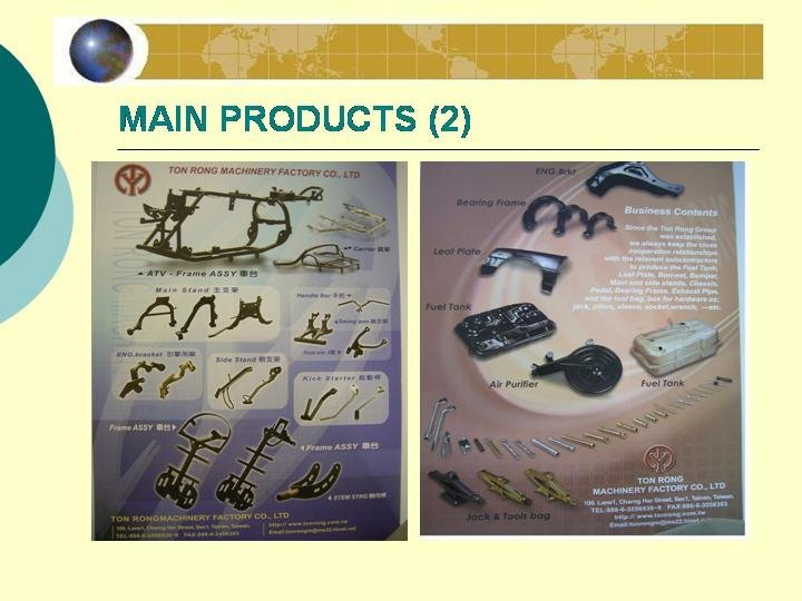 stamping parts, punch parts, forging parts, tubes, main stand, side stand, bumper, tank, motorcycle frame, ATV frame,