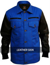 New - Green Apple - Denim Blue Jacket with Black Leather Sleeves - All Sizes - XS S M L XL 2XL 3XL 4XL