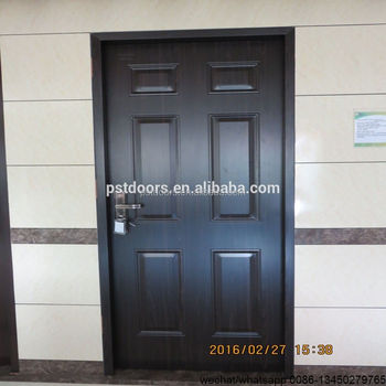 pvc film steel doors,pvc coated steel door,walnut color american steel door