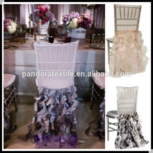 Hot sale & high quality organza bow ruffled chair sash for banquet