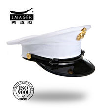 High Quality oem navy military officer peak cap with gold badge