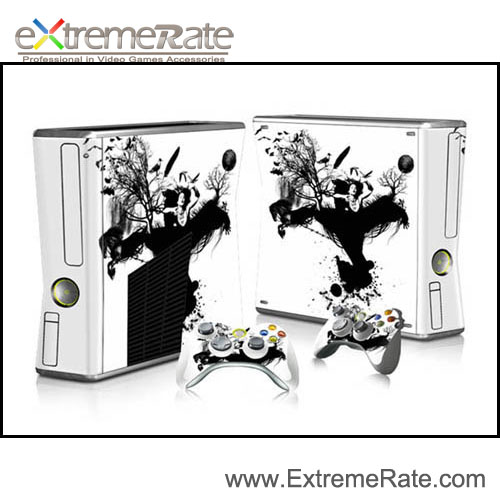 Original Sticker For Xbox 360 Slim Console Controller Vinyl Decal + 2 New Controller Skins For Xbox 360