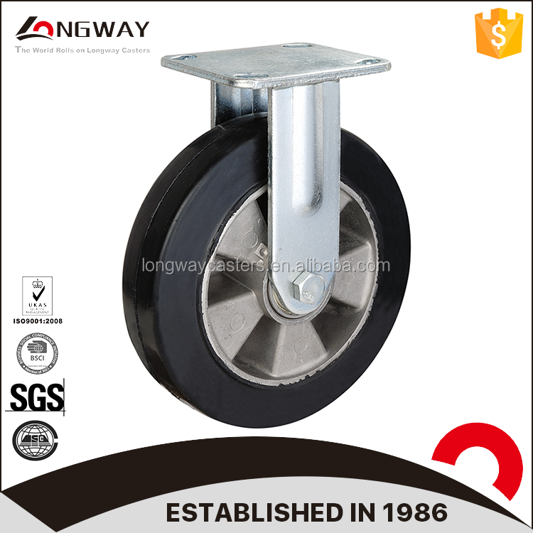 Heavy duty rubber caster mold on cast aluminium industrial caster wheels