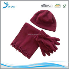 customized thinsulate lining plain fleece winter hat gloves scarf set
